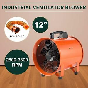 12 Industrial Extractor Fan Blower 5m Duct Hose Low Noise Strong Carry Handle