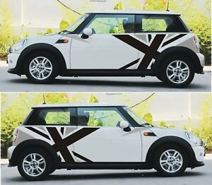 Uk Flag Side Body Stripes Decor Sticker Decals Graphics For Mini Cooper