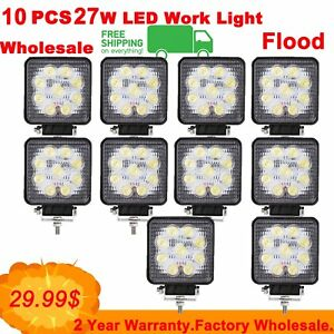 10pcs 27w Cree Led Work Light Bar Flood Offroad Jeep Suv Truck Driving Lamp 4