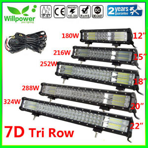 Tri Row 15 18 20 22inch Led Work Light Bar Off Road Car Truck Suv Driving Lamp