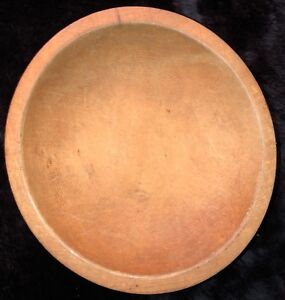 Vintage Munising Michigan Primitive Hand Carved Red Footed Wooden Bowl