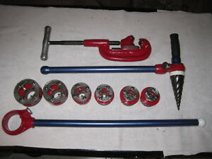 package Set Ridgid 111r Ratchet 6 Heads Reamer And 1 4 1 1 4 Pipe Cutter