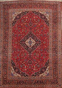 Enticing Floral Red 10x14 Wool Kashan Persian Oriental Area Rug 13 8 X 9 6