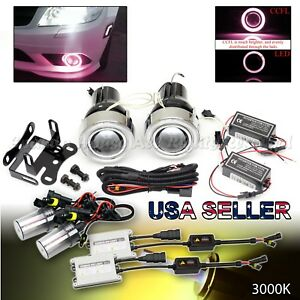 3 Projector Fog Lights Euro Red Ccfl Halo Rings Dual Switches 55w 3000k Hid