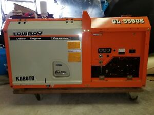 kubota Generator Lowboy Gl 5500s With Dolly Diesel Engine 7 Hours Run Time