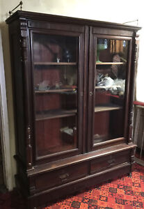 Vintage Antique Cherry Mahogany Locking Bookcase Display Case Cabinet