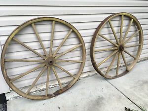 Pair Of Large 48 Wood And Iron 12 Spoke Wagon Wheels Primitive Garden Decor