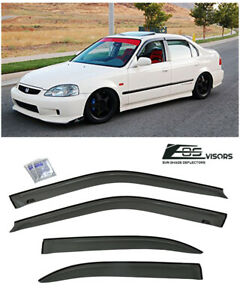 Jdm Tape On Side Vent Window Deflectors Rain Guards For 96 00 Honda Civic Sedan