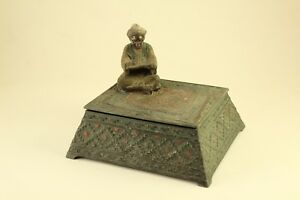 Antique Austria Franz Xavier Bergman Like Statue Figure Cold Painted Jewelry Box