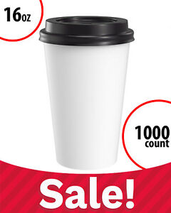 Paper Coffee Cups White With Black Lids Large 16 Oz 1000 Count Disposable Bulk