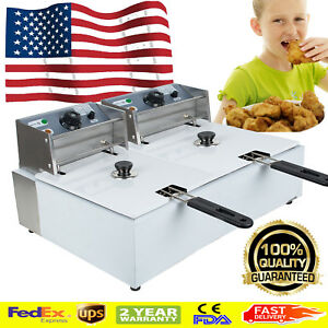 Us 5000w Electric Countertop Deep Fryer Dual Tank Commercial Restaurant Steel Ce