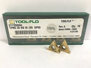 Tool flo Tpmc 32 Ng W 125 New Carbide Inserts Grade Gp50 9pcs Z