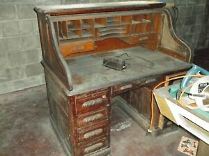 Original Antique Oak Roll Top Desk And Oak Chair