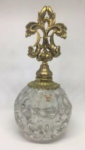 Antique Vintage French Ormolu Gilded Brass Bevel Glass Perfume Bottle 6 5