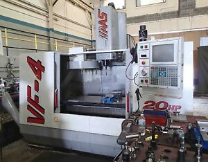 Haas Vf 4 Cnc Vertical Machining Center 20 Hp Vector Drive Chip Auger Coolant