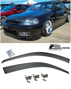 Eos Visors For 96 00 Civic 2 3dr Clip on Style Side Window Rain Guard Deflectors