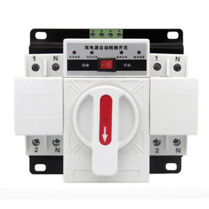 Ac230v 2p 63a Dual Power Automatic Transfer Switch Ats Circuit Breakers 50hz 60