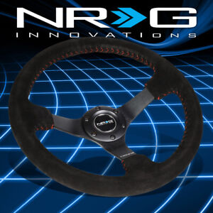 Nrg Performance 350mm 3 deep Dish Black Suede Red Stitch Racing Steering Wheel