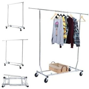 Costway Garment Rack Collapsible Heavy Duty Steel Chrome plated Iron 4 Casters