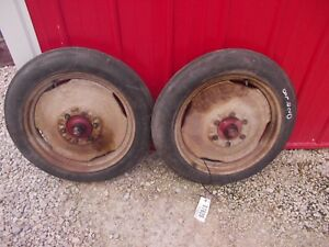 Ford 8n Tractor Front Rims Hubs 4 X 19 Firestone Guide Grip Gum Dipped Tires