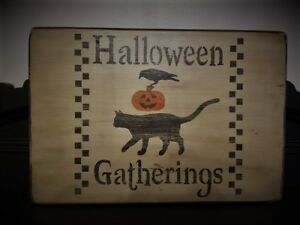 Fall Autumn Halloween Black Cat Pumpkin Crow Wood Primitive Country Picture