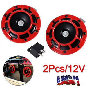 Dual Super Loud Blast Tone 12v Electric Grille Grill Mount Compact Car Horns Red