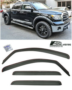 For 07 up Toyota Tundra Crew Max Smoke Tinted Side Vents Sun Shade Rain Guards
