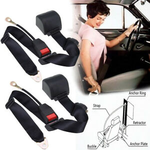 2x Car Seat Belt Lap 3 Point Safety Travel Adjustable Retractable Auto Universal