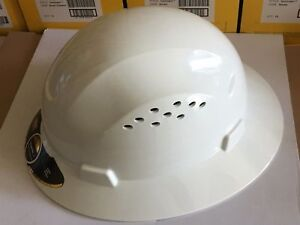 Hdpe Natural White Full Brim Hard Hat With Fas trac Suspension