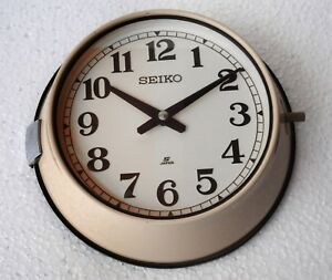 Vintage 1980 S Maritime Slave Clock White Dial Nautical Ship Quartz Seiko Japan