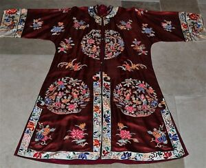 Old Or Antique Chinese Silk Ladies Robe With Peking Knot Embroidery Sleeve Bands