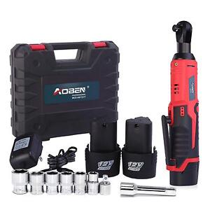 Cordless Electric Ratchet Wrench Set 3 8 12v 2x 2000mah Battery Charger Toolbox