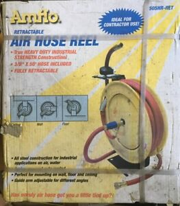New Amflo 505hr Ret Automatic Hose Reel With 250 Psi 3 8 X 50 Red Rubber Air