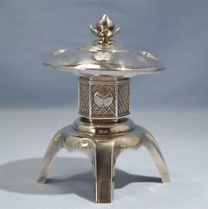 Japanese Sterling 950 Silver Large Pagoda Building Spice Condiment Cellar