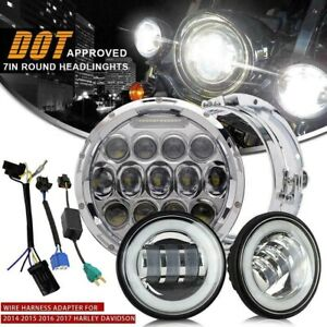 7 Led Headlight 2xpassing Lights For Harley Davidson Touring Road King