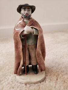 Vintage French Porcelain 6 Tall Figurine Man Perhaps A Shepherd With His Crook
