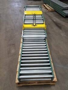 Hytrol 24 Gravity Roller Conveyor Lot Of 53 10 With Gate