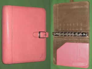 Desk 1 0 Pink Ribbon Leather Day Timer Planner Binder Classic Franklin Covey