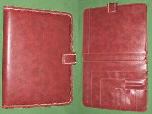 Monarch Note Pad Red S Leather Franklin Covey Planner 8 5x11 Binder 6054
