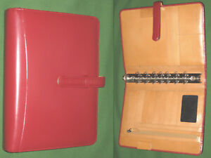 Classic 1 25 Red Tan Full Grain Leather Franklin Covey Planner Binder Open