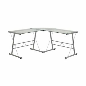 Flash Furniture Glass L shape Computer Desk With Silver Frame Finish