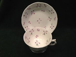 English Soft Paste Porcelain Hand Painted Purple Green Sprig Clover Cup