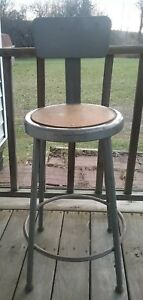 Shop Stool With Backrest metal used In Maintenance Shops Labs Schools Pre owned