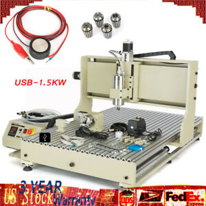 Hot 4 Axis 6090 Engraving Usb Cnc Router Engraver Carve Machine 1500w Motor New