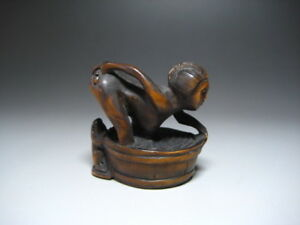 Woman Frog Wooden Netsuke Sighed Okimono Inro Ojime Japan Erotic Vintage Antique