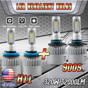 4x H11 9005 Csp Led Headlight Conversion Kit 320w 32000lm 6000k High Low Beam