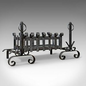 Antique Fire Basket On Andirons Fire Dogs English Fireplace Grate C 1900