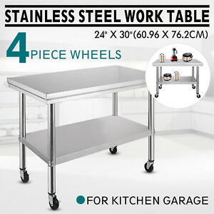 30x24 Kitchen Stainless Steel Work Table 4 Casters Utility Station Garage Room