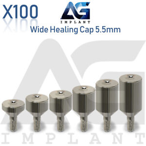 100 Wide Healing Cap Abutment 5 5mm Titanium For Dental Implant Internal Hex