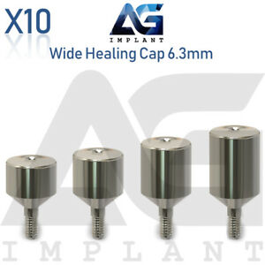 10 Wide Healing Cap Abutment 6 3mm Titanium For Dental Implant Internal Hex